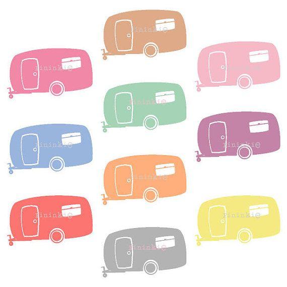 Camper clipart clip art. Retro summer camping caravan