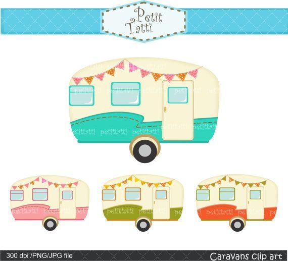 Vintage caravan car retro. Camper clipart cute