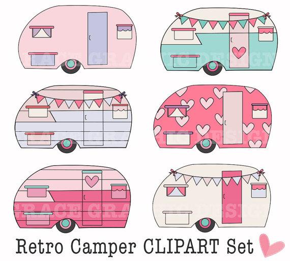 Camper clipart cute. Retro camping diy digital