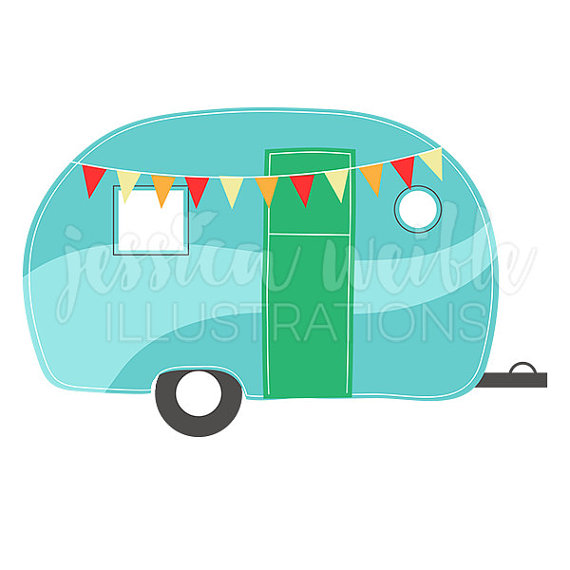 Camping Caravan Cute Digital Clipart