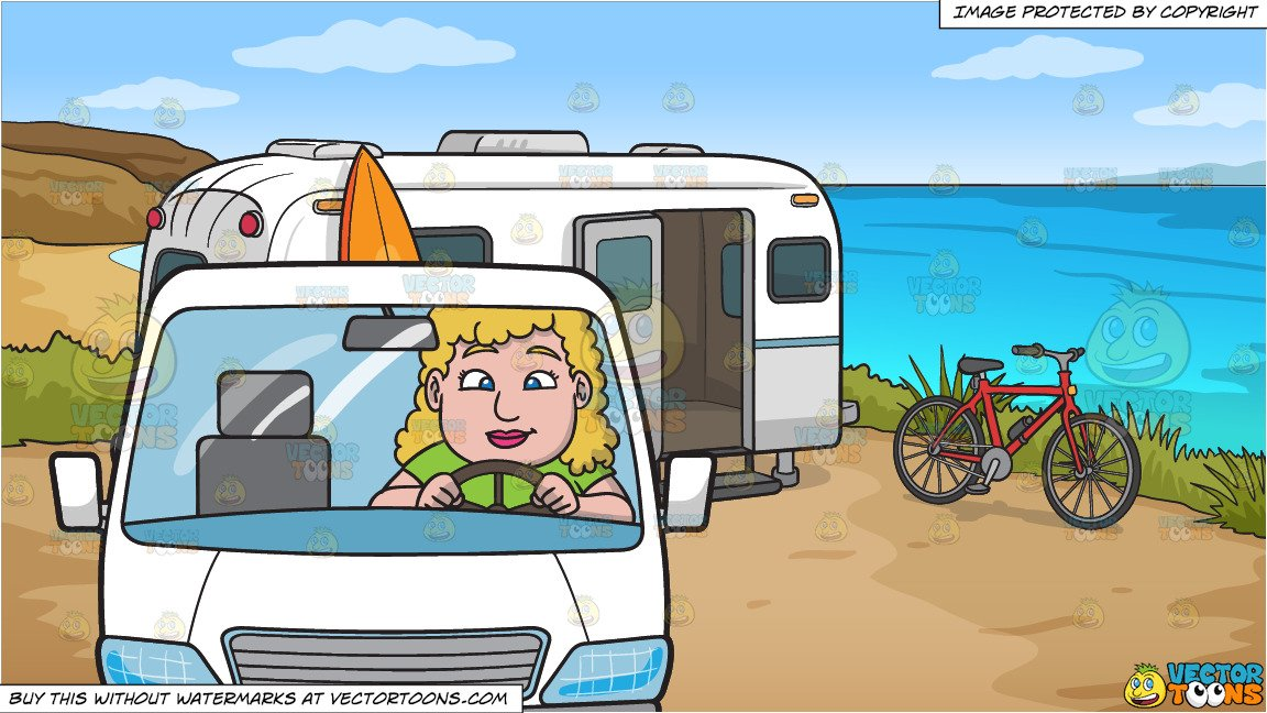 Camper clipart family. A chubby woman driving