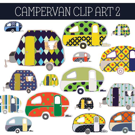 Van digital clip art. Camper clipart family