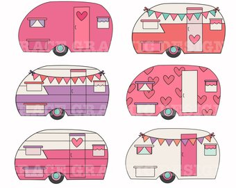 Camping summer glitter retro. Camper clipart girly