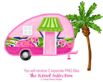 Preppy beach etsy glamping. Camper clipart girly
