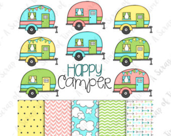 Camper clipart girly. Glamping etsy