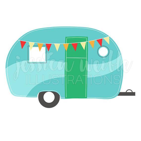Camping caravan cute digital. Camper clipart girly