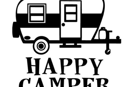 Camper clipart happy camper. Black and white station