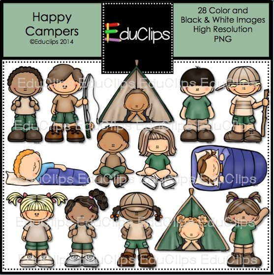 Camper clipart happy camper. Campers clip art bundle