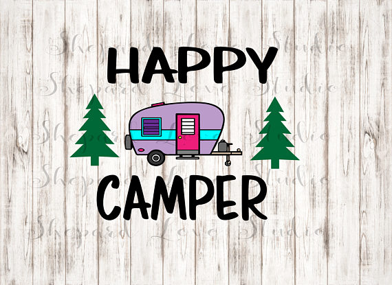Camper clipart happy camper. Svg cut file svghappy