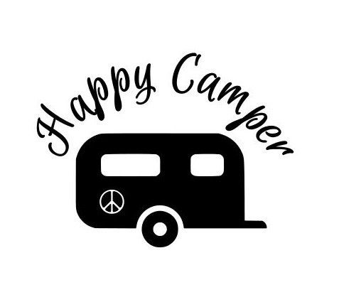 Camper clipart happy camper. Vinyl decals stickers camping