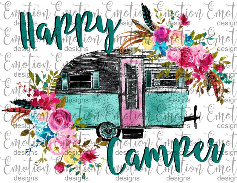 With flowers instant download. Camper clipart happy camper