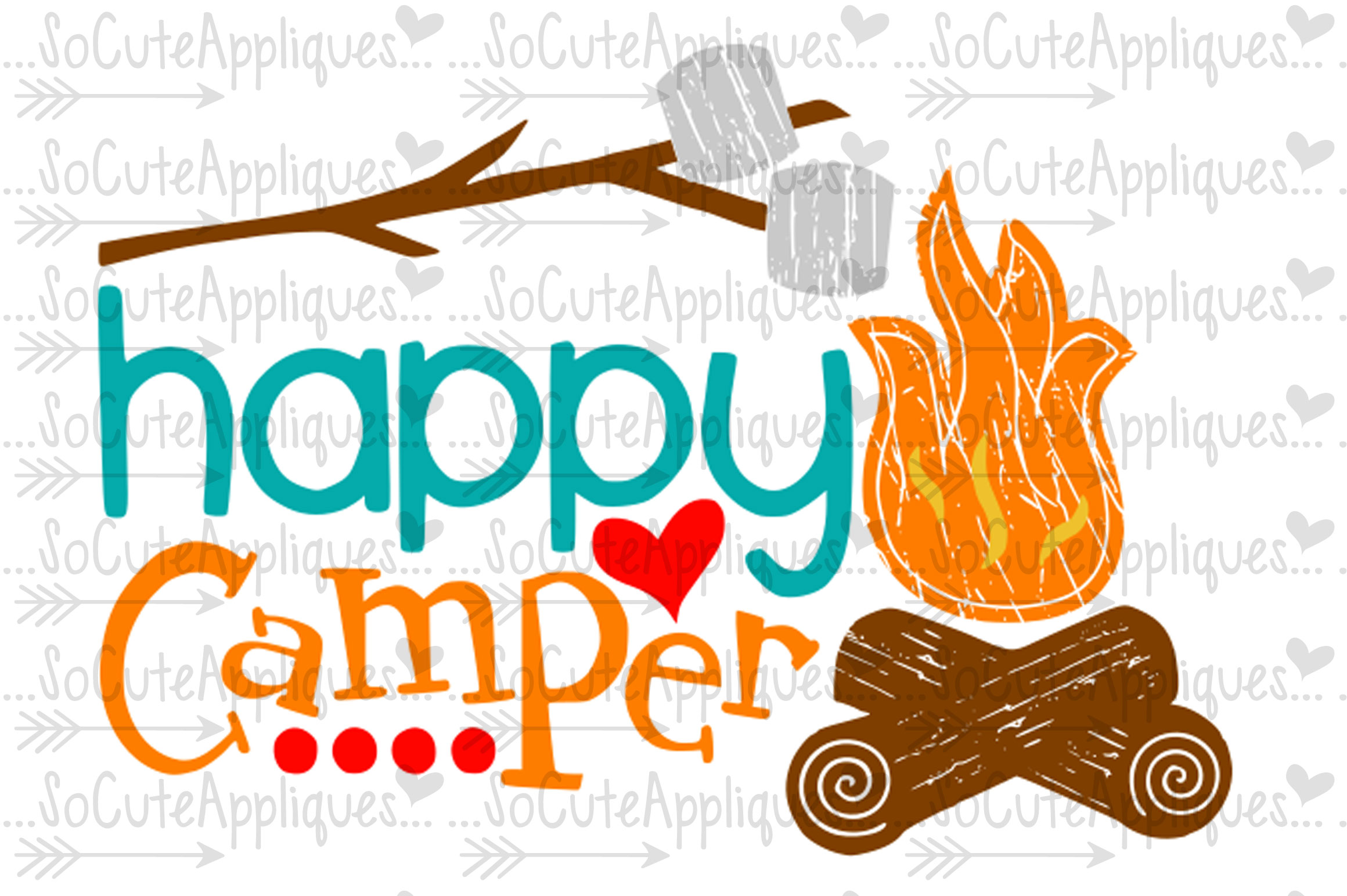Camper clipart happy camper. So cute appliques svg