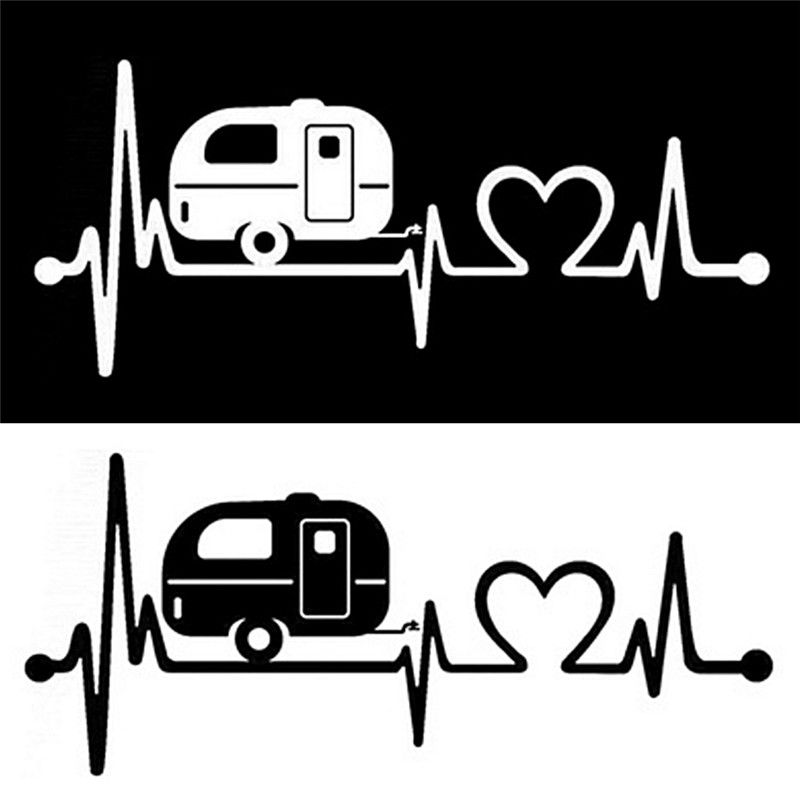 Jetting travel heartbeat vinyl. Camper clipart hiker