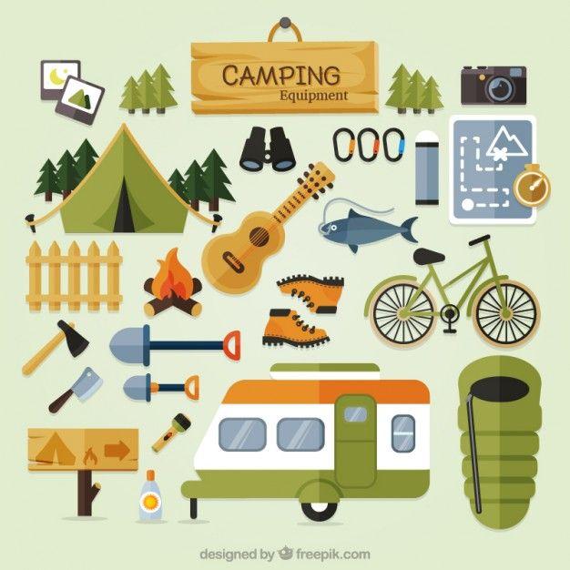 Equipamentos de acampamento bonito. Camper clipart hiker