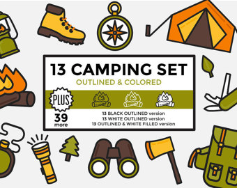 Camper clipart hiker. Camping graphics etsy hiking