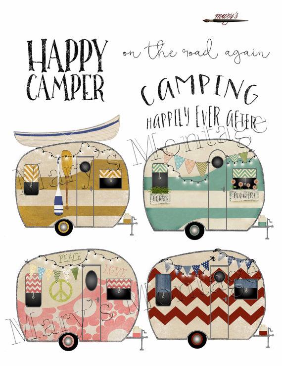 Retro png digital collage. Camper clipart logo
