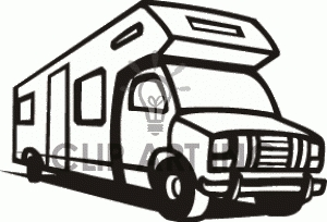 Camper clipart motorhome. Black and white letters