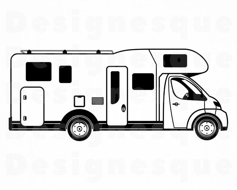 Camper clipart motorhome. Svg rv files for