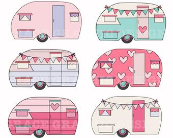 Retro etsy . Camper clipart old fashioned