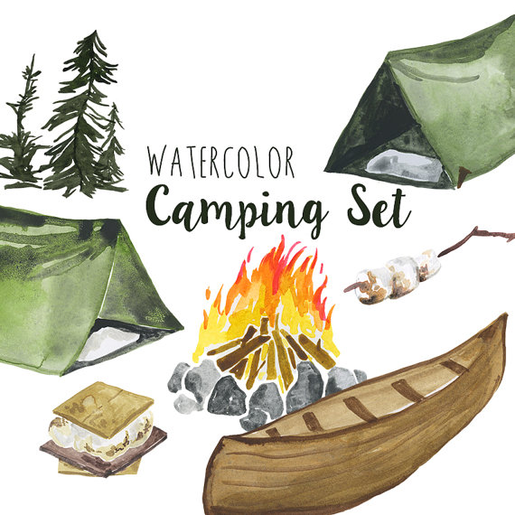 Watercolor camping clip art. Camper clipart outdoor activity