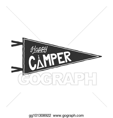 Happy pennant template typography. Camper clipart outdoor activity