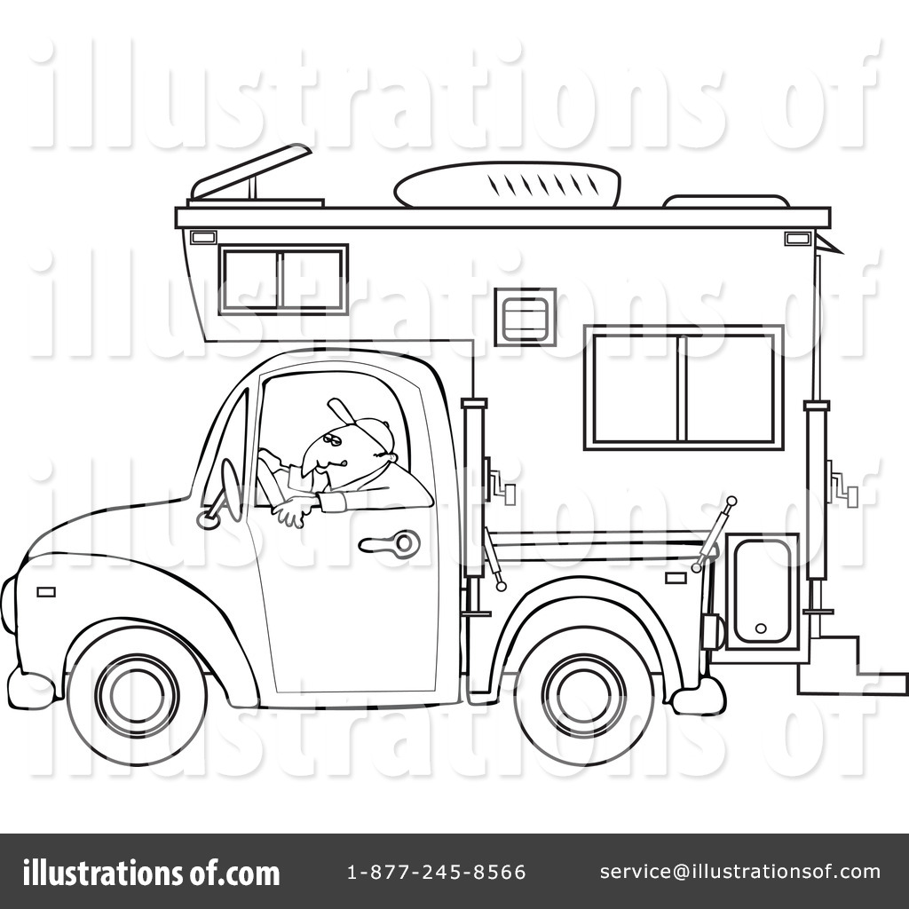 Camper clipart outline. Illustration by djart royaltyfree