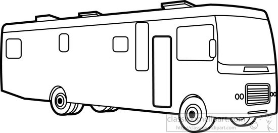 Book of motorhome black. Camper clipart outline