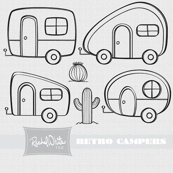 Camper clipart outline. Retro campers digital stamp