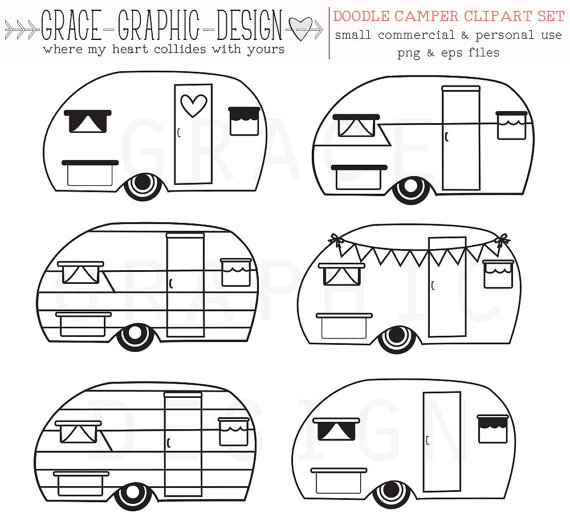 Retro vector commercial use. Camper clipart outline