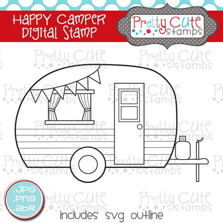 Camper clipart outline. Pcs happy digital stamp