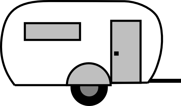 Trailer with popular trend. Camper clipart outline