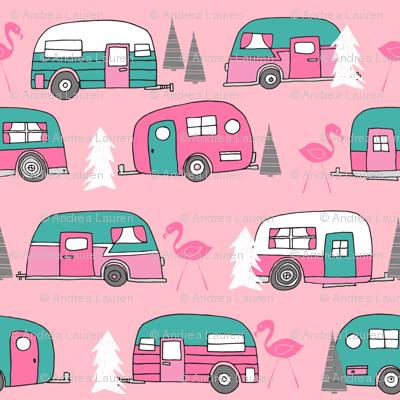 Vintage and turquoise van. Camper clipart pink