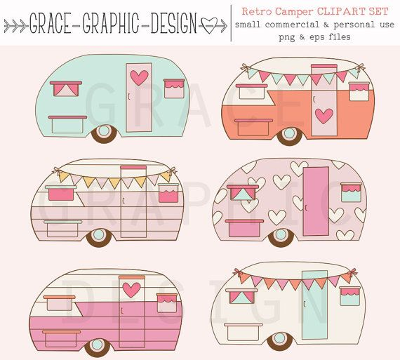 Camper clipart pink. Retro camping diy digital