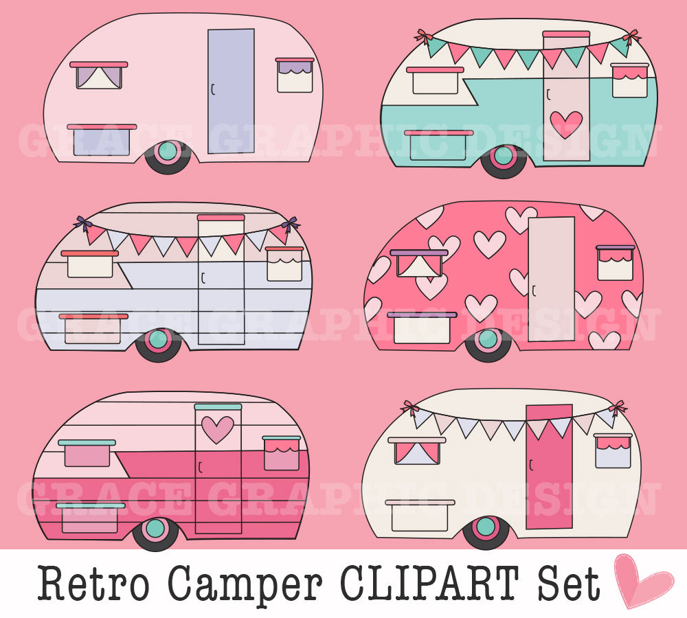 Retro camping diy digital. Camper clipart pink