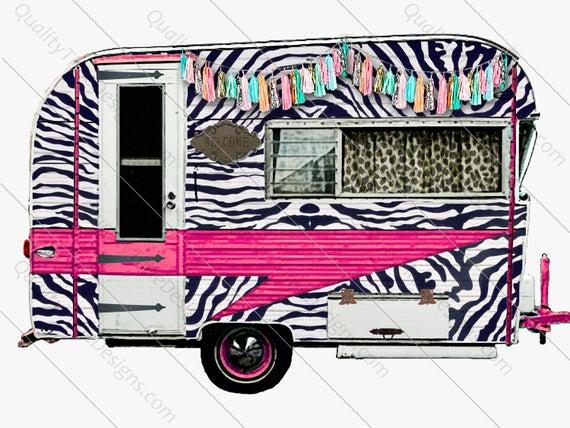 Camper clipart pink. Zebra print leopard clip