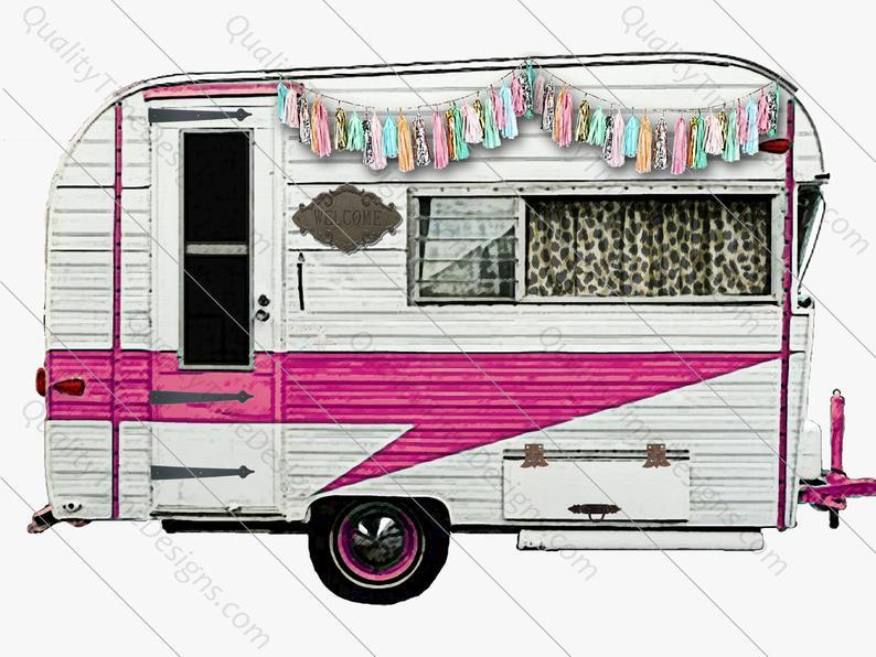 Clip art trailor vintage. Camper clipart pink