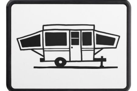 black white and. Camper clipart popup camper