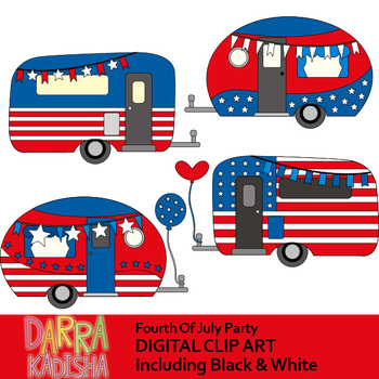 Camper clipart red. Happy fourth of july