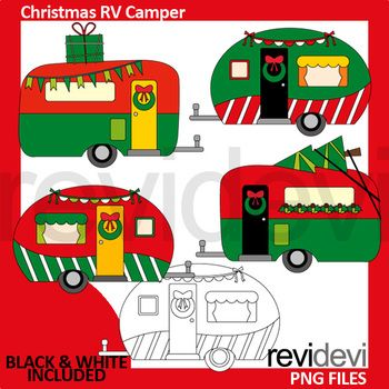 Camper clipart red. Christmas green rv clip