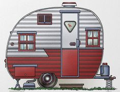 camper clipart red