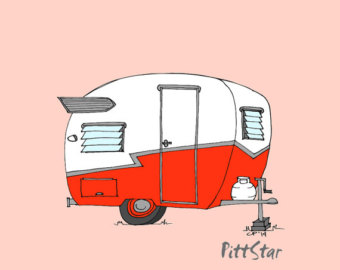 Trailer cartoon with innovative. Camper clipart red