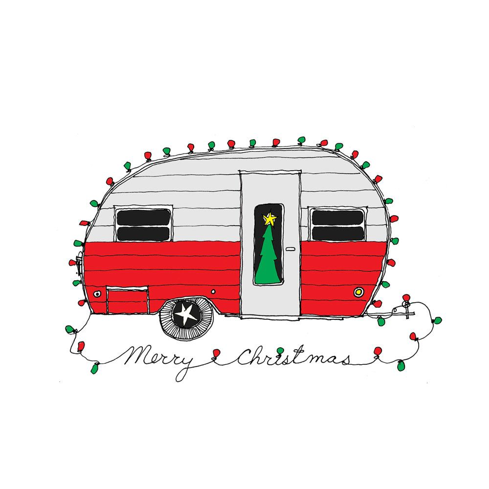 Camper clipart red. Christmas retro card set