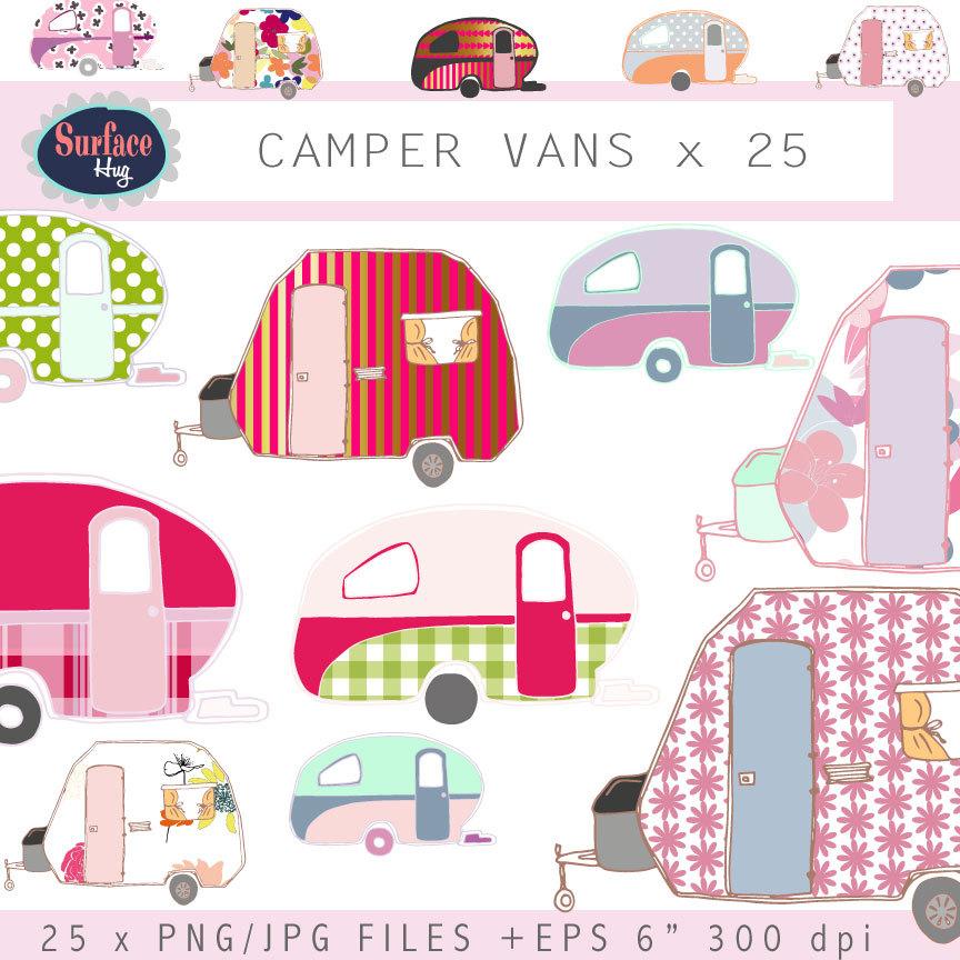 Camper clipart retro camper. Campervan clip art vans