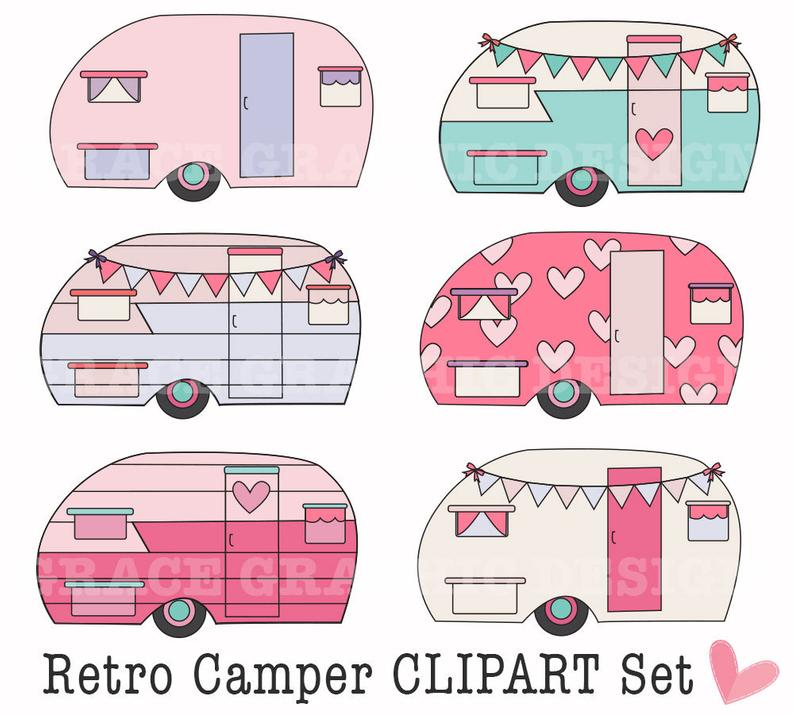 Camper clipart retro camper. Camping diy digital art