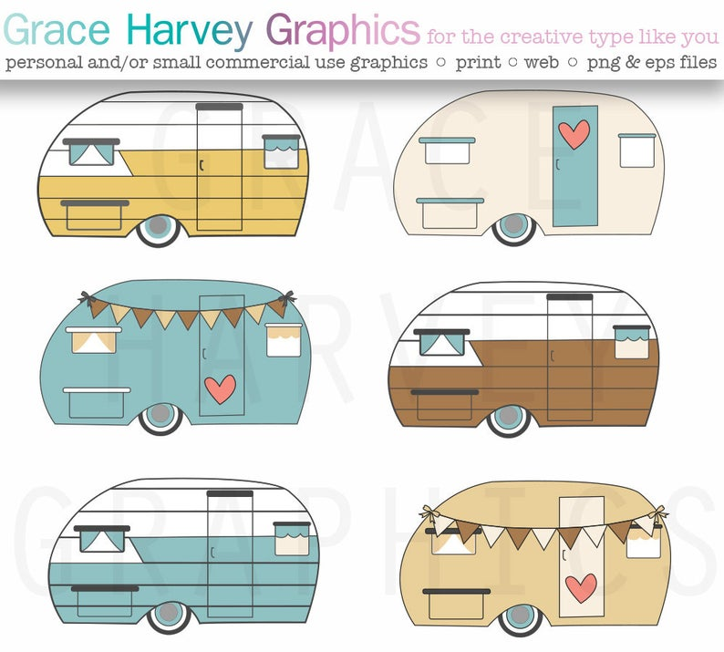Vector commercial use instant. Camper clipart retro camper