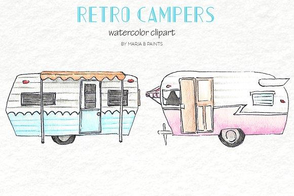 Camper clipart retro camper. Watercolor clip art campers