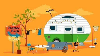Camper clipart scene. Trailer park with a