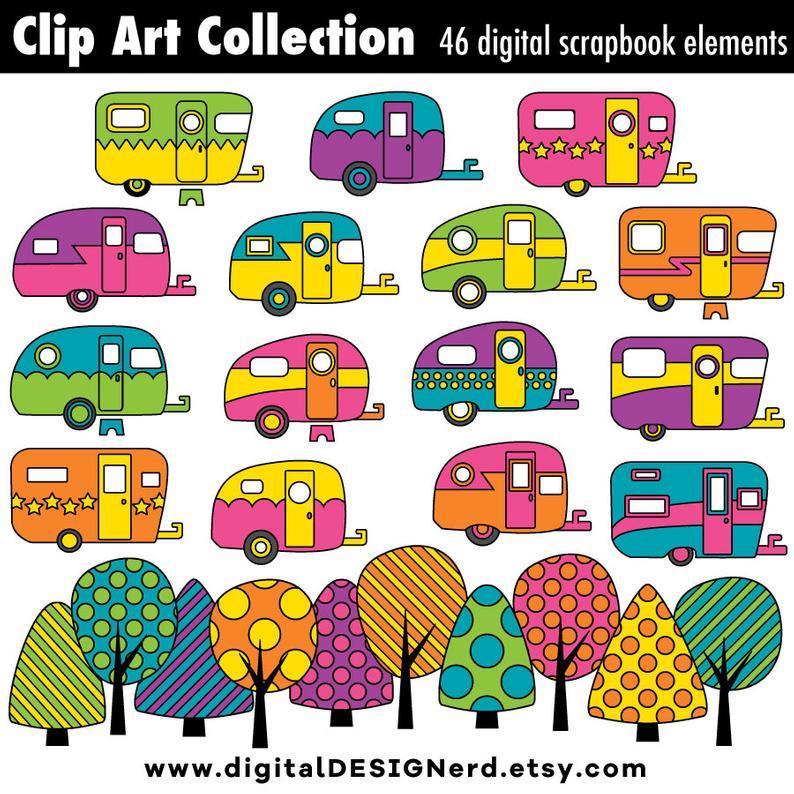 Clip art vintage campers. Camper clipart scrapbook