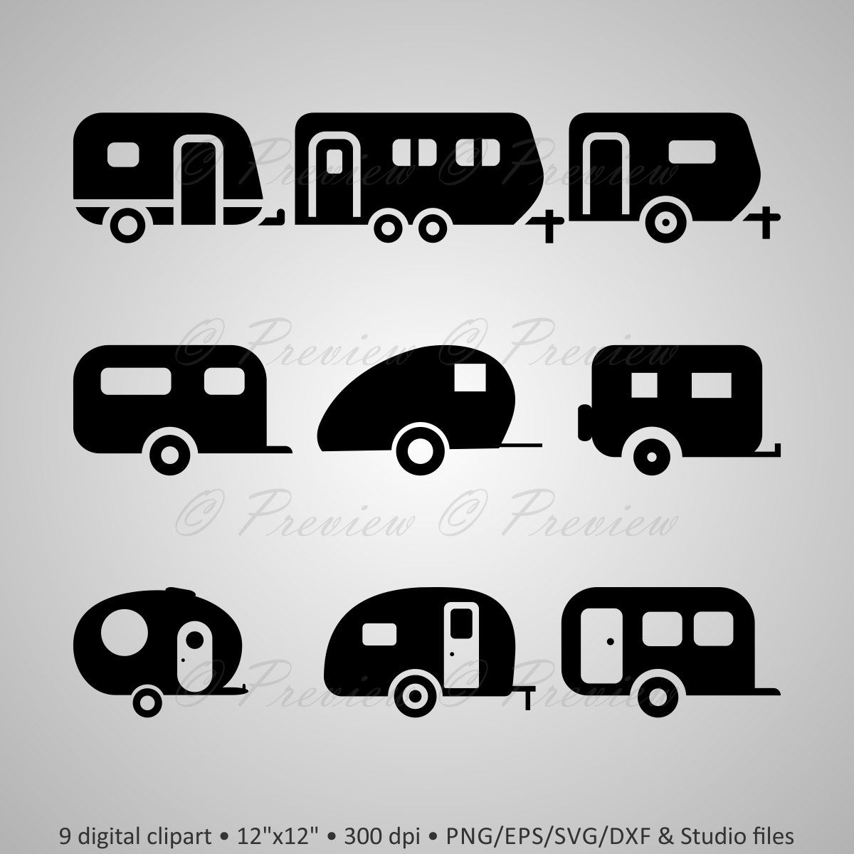 Buy get free digital. Camper clipart silhouette