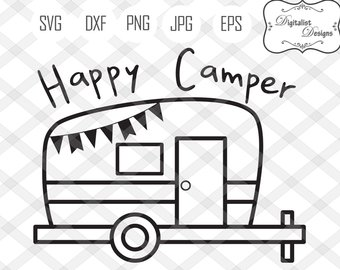Happy svg etsy studio. Camper clipart silhouette